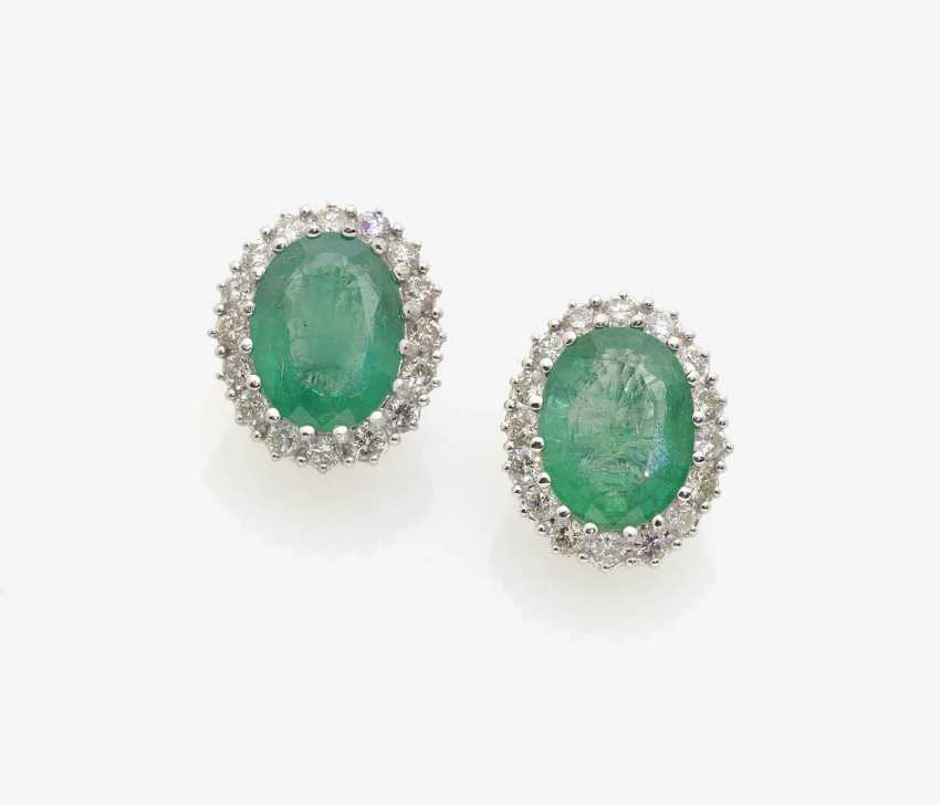 A PAIR OF CLIP EARRINGS WITH EMERALDS AND DIAMONDS . Italy - photo 1