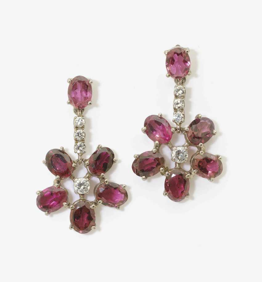 A PAIR OF DROP EARRINGS WITH GARNETS AND DIAMONDS . Germany - photo 1