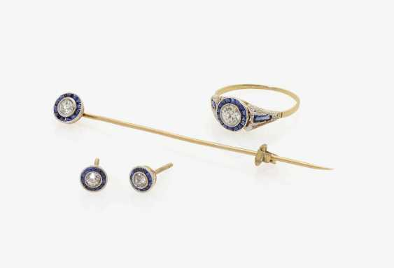 Needle, Ring and a Pair of stud earrings with diamonds and sapphires . France, 1910-1915 - photo 1