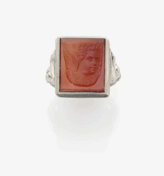 HISTORICAL CARNELIAN RING IN HIGH RELIEF . California, Sonoma, around 1890 - photo 1