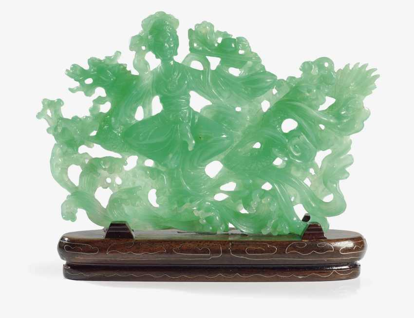 CHINESE CHRYSOPRASE OBJECT, GUAN YIN WITH GOOD LUCK DRAGON . China, in 1975, COMPANY LEE - photo 1