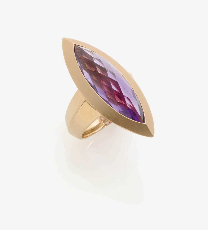 Marquis ring decorated with an Amethyst . Italy, 2000s, VALENTE - photo 1