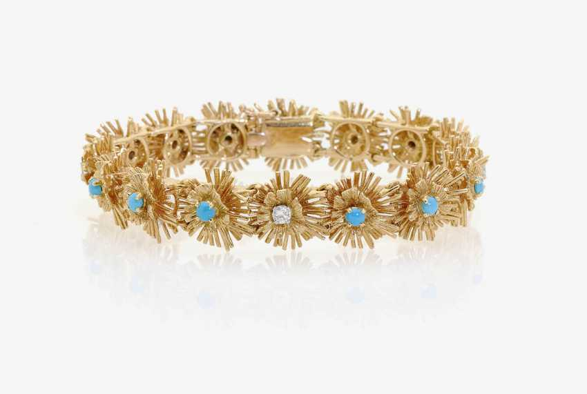 LINK BRACELET DECORATED WITH TURQUOISE AND DIAMONDS . Sweden, 1958 - photo 1
