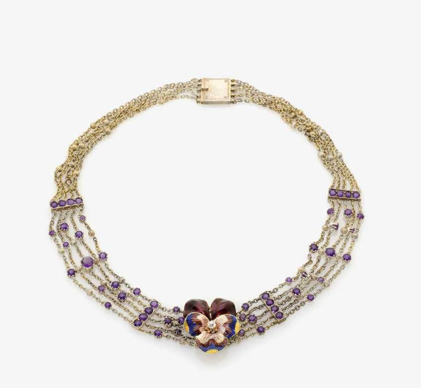 NECKLACE WITH PANSY . Germany, C. 1910, probably G. A. KORFF, of Hanau - photo 1