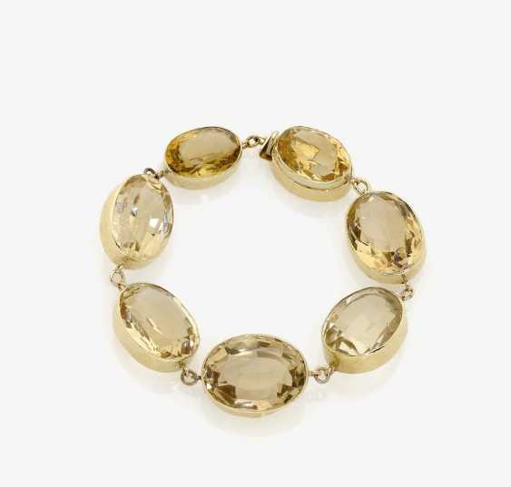 GOLD LINK BRACELET DECORATED WITH CITRINES . USA, 1940s - photo 1