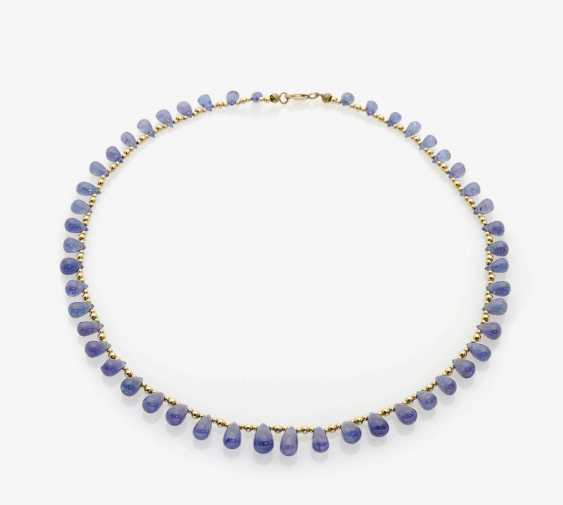 NECKLACE EMBELLISHED WITH TANZANITE DROPS AND GOLD BALLS . Germany, 1980s-1990s - photo 1