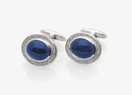 A PAIR OF CLASSIC CUFFLINKS ADORNED WITH SAPPHIRES AND DIAMONDS . Germany - photo 1