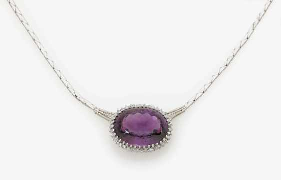 Necklace embellished with an Amethyst and diamonds . Germany, 1970s - photo 1