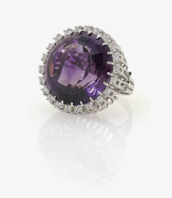 Cocktail ring decorated with an Amethyst and diamonds . Germany, Idar-Oberstein, 1970s - photo 1