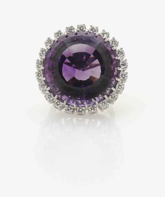 Cocktail ring decorated with an Amethyst and diamonds . Germany, Idar-Oberstein, 1970s - photo 2