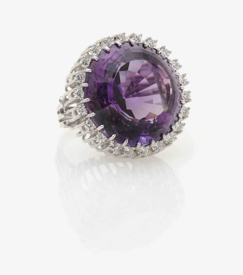 Cocktail ring decorated with an Amethyst and diamonds . Germany, Idar-Oberstein, 1970s - photo 3