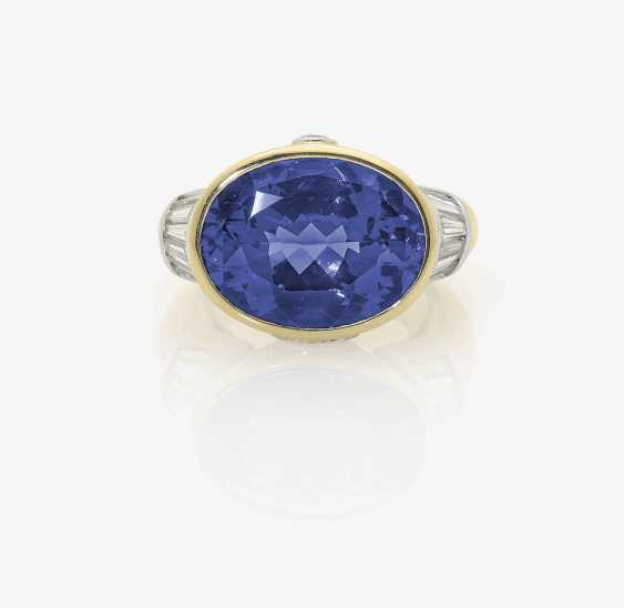 MODIFIED OUTER RING DECORATED WITH BRILLIANT-CUT DIAMONDS WITH A TANZANITE AND DIAMOND . Germany, 1980s-1990s - photo 1