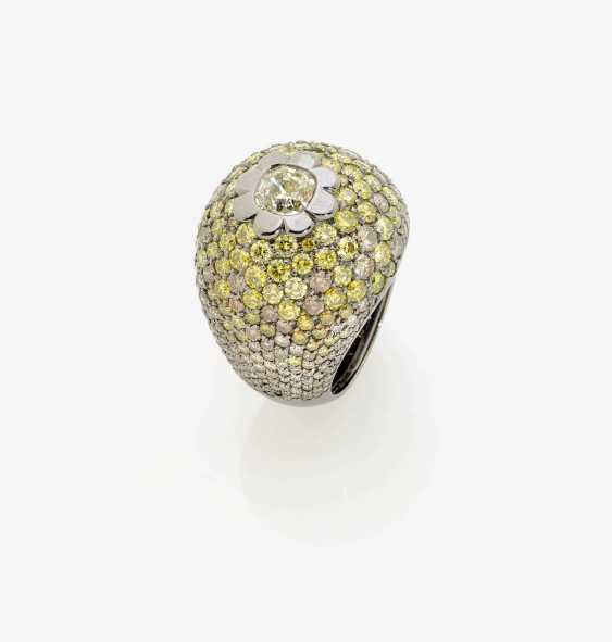 Fancy cocktail ring decorated with brilliant-cut diamonds with multi-colored diamond . England - photo 1