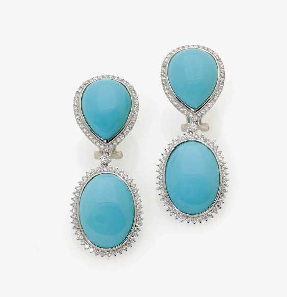 A PAIR OF STUD PIN CLIPS ADORNED WITH TURQUOISE AND BRILLIANT-CUT DIAMONDS . Italy - photo 1