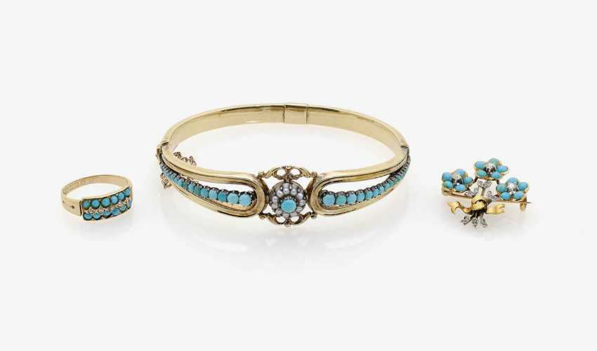 BANGLE, BROOCH AND RING WITH TURQUOISE, DIAMONDS AND SEED PEARLS . England, Chester, and Germany, 1880 to 1890 - photo 1