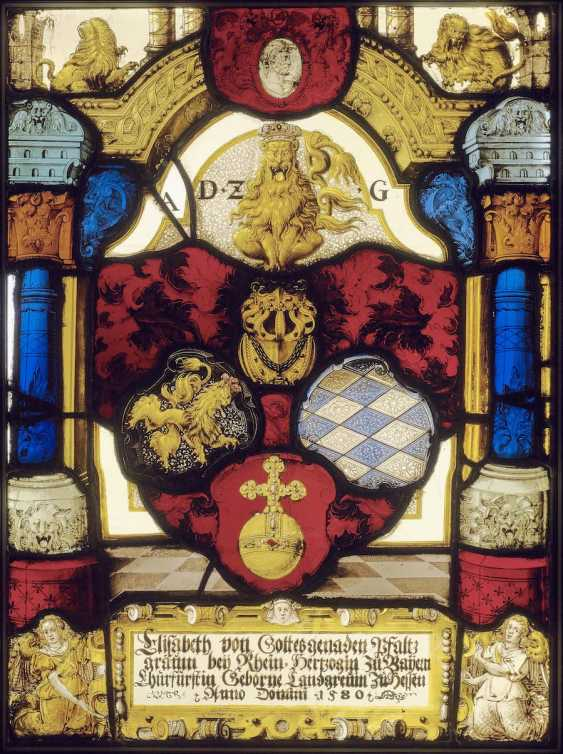 """Southern Germany, dated to 1580. 'All thing Zergenglich"""" coat of arms disc of the electress Elisabeth of Hesse (1539 - 1582), Pfalz Countess of the Rhine and Duchess of Bavaria - photo 1"""