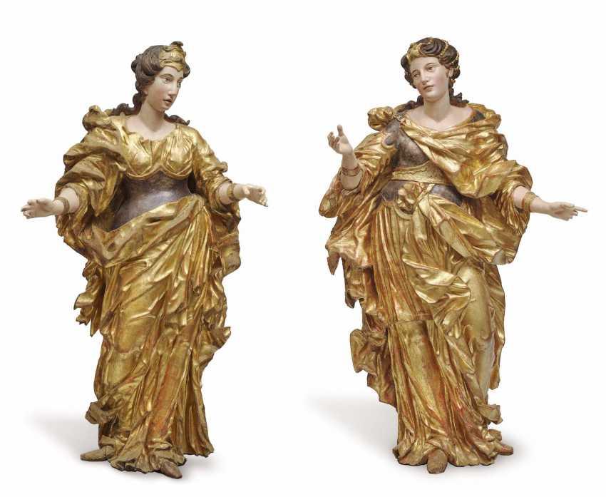 Vienna, C. 1700, Matthias Steinl (1643/1644 Land of Salzburg - 1727 Vienna), radius . Two female allegories - photo 1