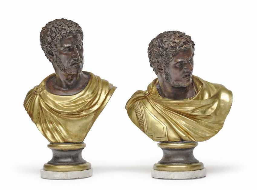 After the antique . A COUPLE OF BUSTS OF ROMAN EMPERORS - photo 1