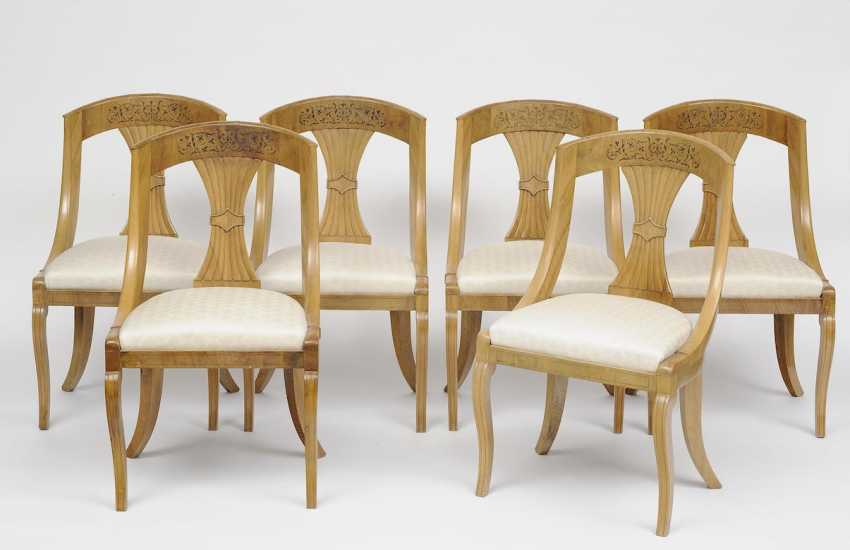 France, Charles X, about 1820 . SET OF SIX GONDOLA CHAIRS - photo 1