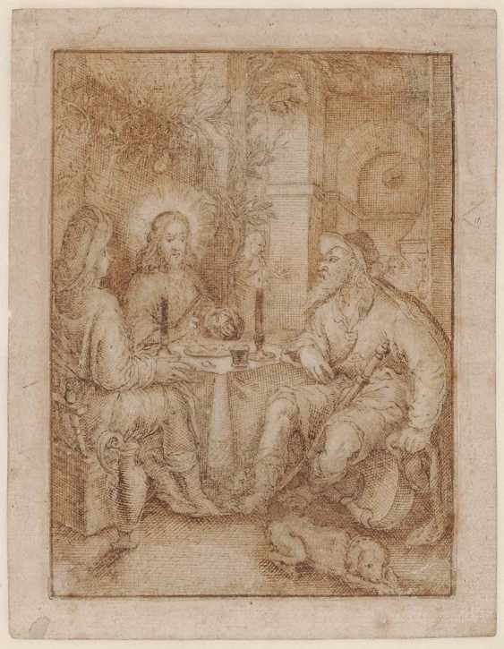 The NETHERLANDS 17. Century. Christ, the bread with two pilgrims sharing - photo 1