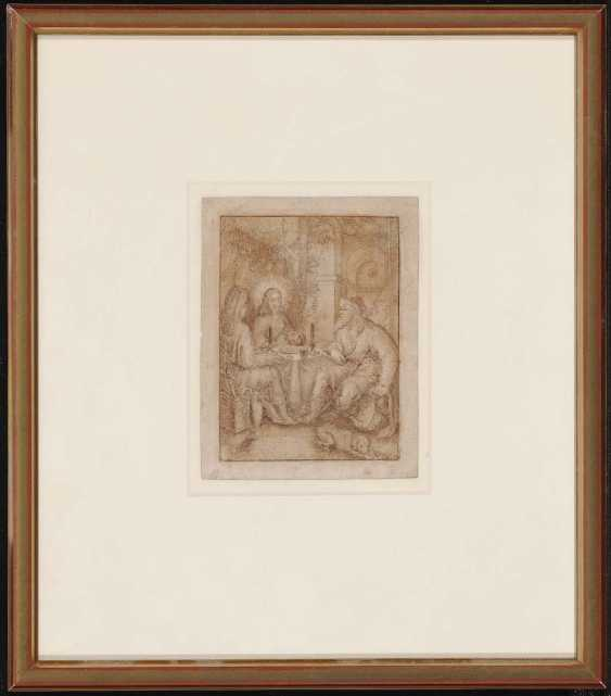 The NETHERLANDS 17. Century. Christ, the bread with two pilgrims sharing - photo 2