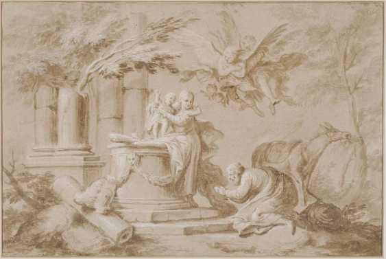 ITALY 17./18. Century. Holy family resting on the flight to Egypt - photo 1