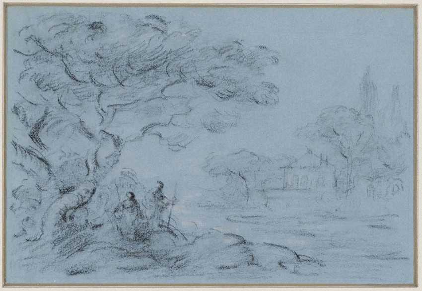 ENGLAND (?) 18. Century. Walkers on the river Bank - photo 1