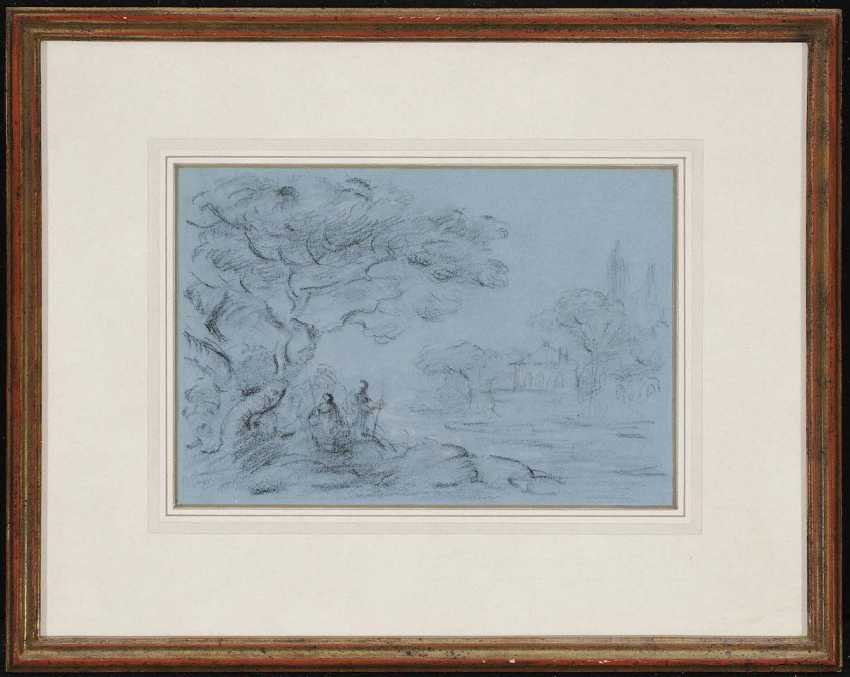 ENGLAND (?) 18. Century. Walkers on the river Bank - photo 2
