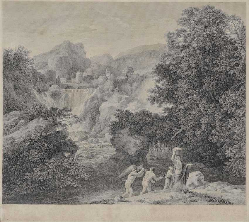 Rahl, Carl Heinrich. Landscape with waterfall and figure staffage - photo 1