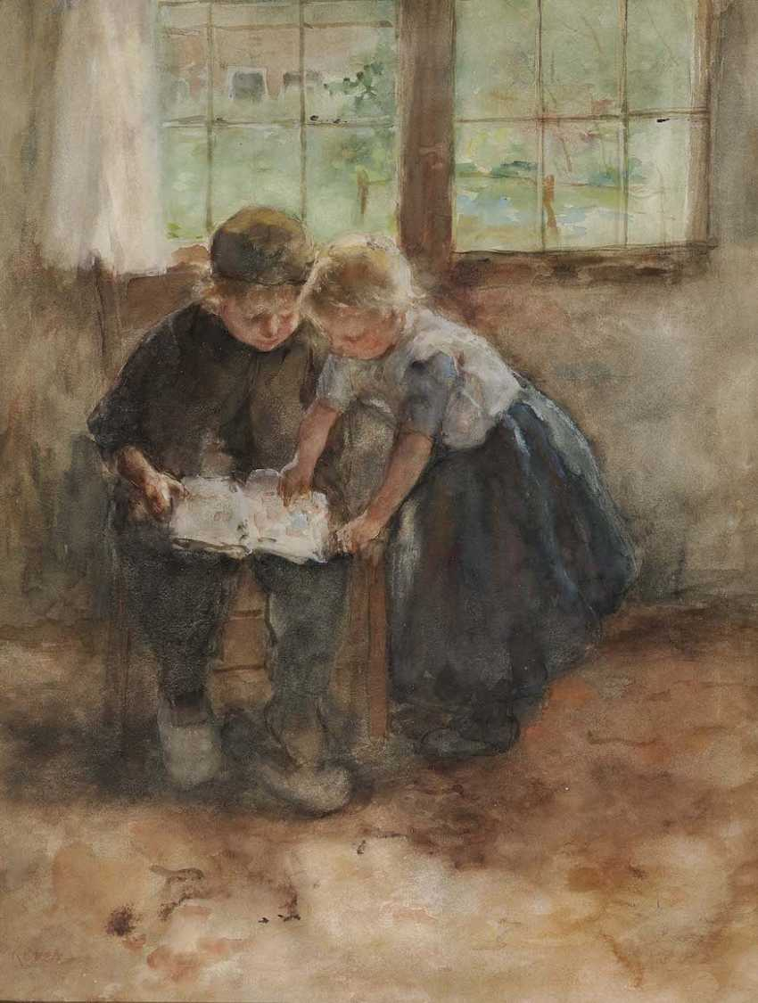 KEVER, JACOBUS SIMON HENDRIK (HEIN). Two children with book - photo 1