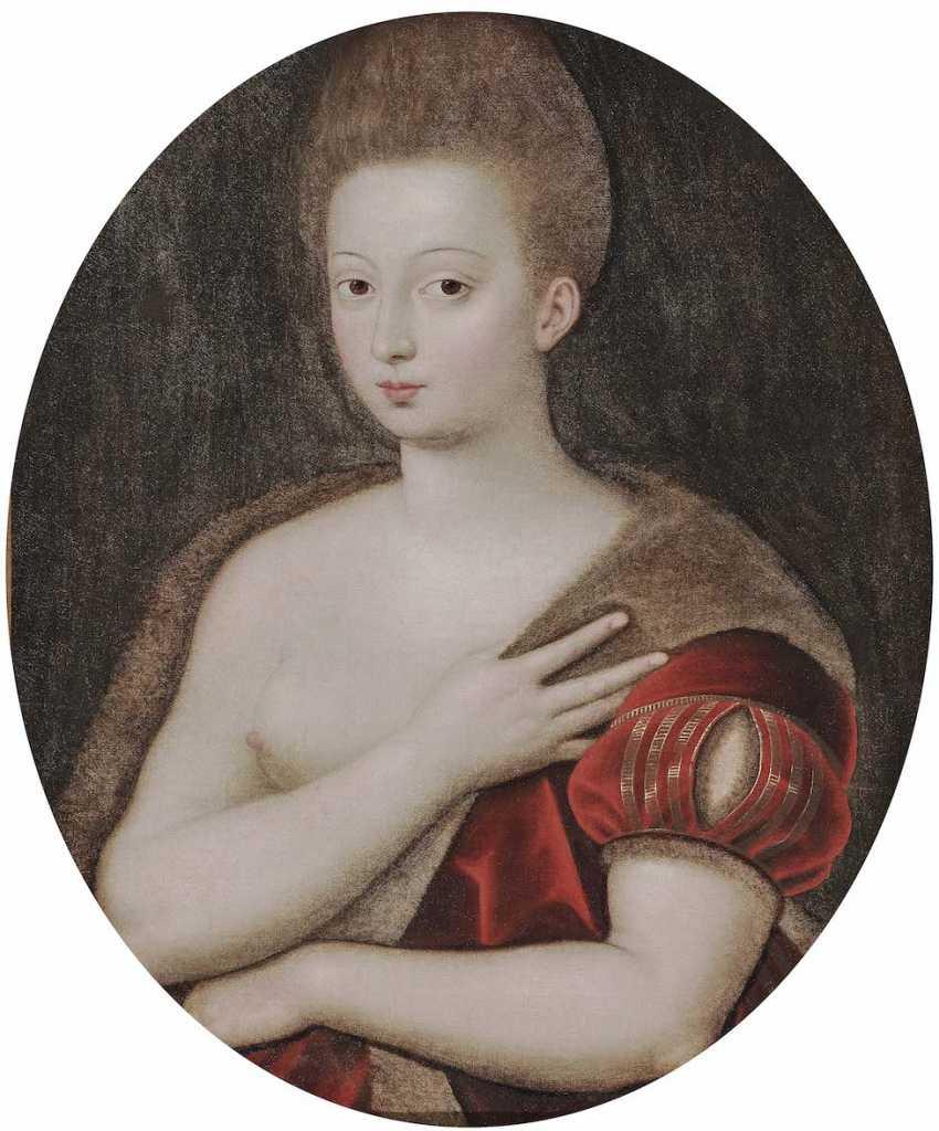 Schule von Fontainebleau Ende 16. A running commentary. Gabrielle d'estrées (um 1570 Schloss Coeuvres [Picardy] - 1599 in Paris) - photo 1
