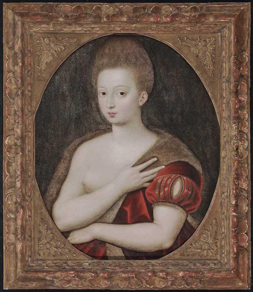 Schule von Fontainebleau Ende 16. A running commentary. Gabrielle d'estrées (um 1570 Schloss Coeuvres [Picardy] - 1599 in Paris) - photo 2