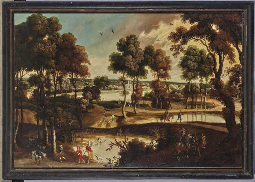Flemish 17. Century. Wide river landscape with figure staffage - photo 2