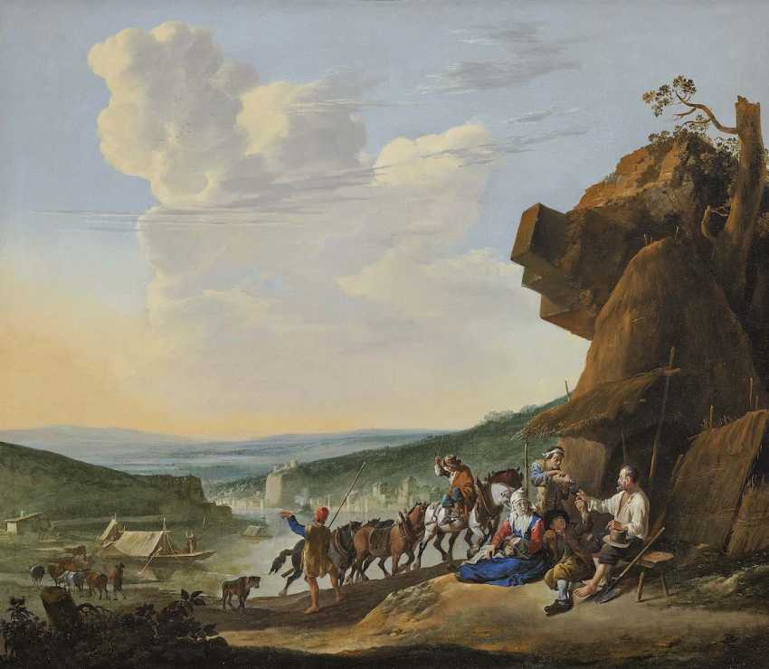 Lingelbach, Johannes. River landscape with resting peasants, in the Background Fort Saint-Jean, and the Chateau de Pierre-Seize, Lyon - photo 1
