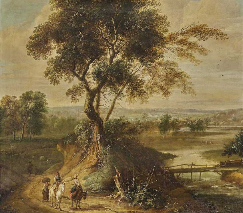 Wilden's, JAN, radius. A river landscape with travellers on a country road - photo 1