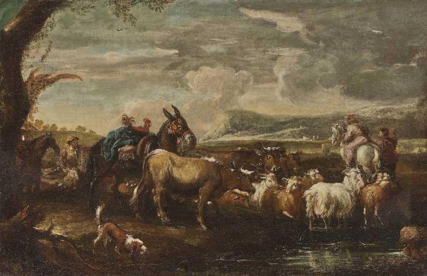 ITALO-FLÄMISCH 17. Jahrhundert Hirten mit Vieh und Packesel in bergiger Landschaft - photo 1
