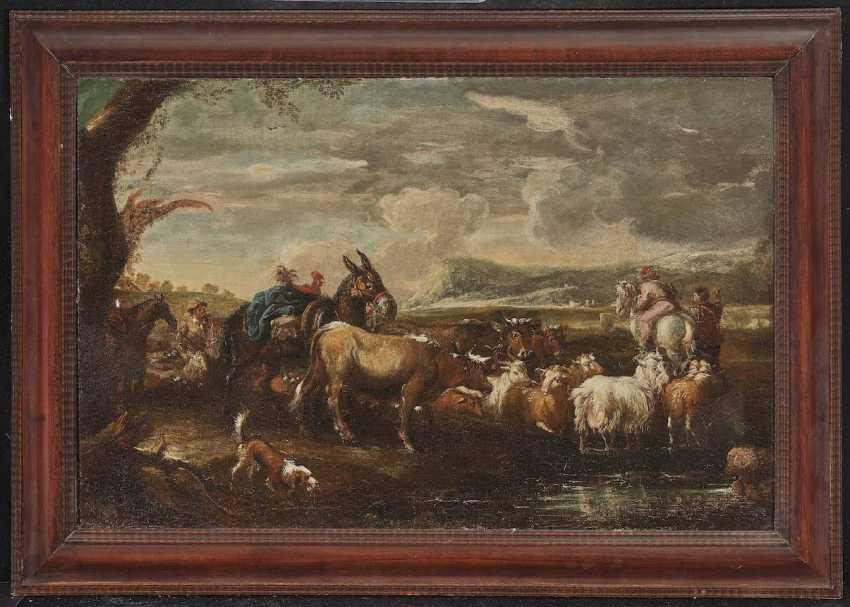 ITALO-FLÄMISCH 17. Jahrhundert Hirten mit Vieh und Packesel in bergiger Landschaft - photo 2