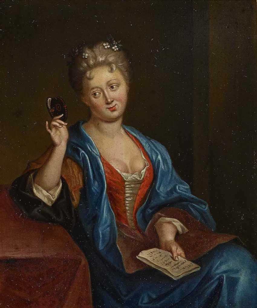 ENGLISH to 1720. Portrait of a lady while looking at a miniature - photo 1