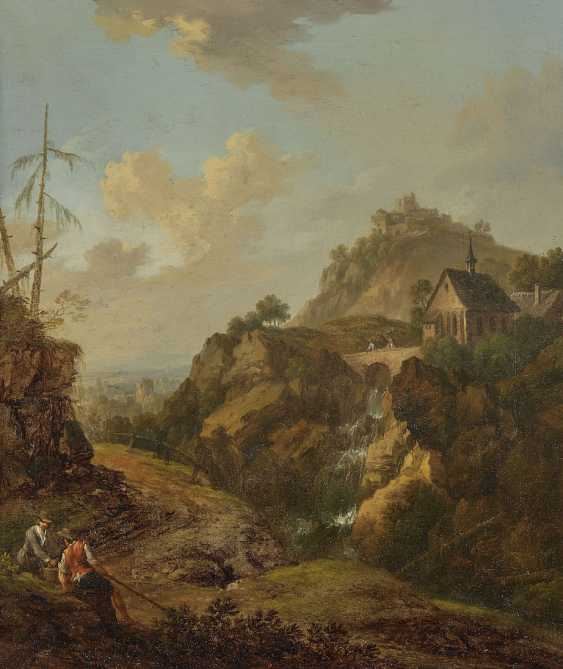 SCHÜZ (CONTACTOR) Ä d., CHRISTIAN GEORG, attributed to. Ideal rocky landscape with a chapel above a waterfall and castle ruins - photo 1