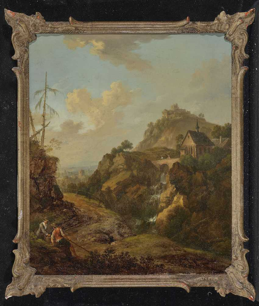 SCHÜZ (CONTACTOR) Ä d., CHRISTIAN GEORG, attributed to. Ideal rocky landscape with a chapel above a waterfall and castle ruins - photo 2