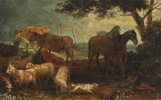 Beich, Franz Joachim, attributed to. A shepherd with cattle in the water - Resting shepherd with cattle - photo 1