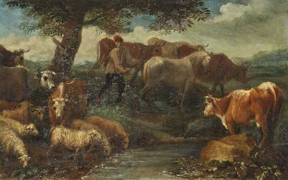 Beich, Franz Joachim, attributed to. A shepherd with cattle in the water - Resting shepherd with cattle - photo 2
