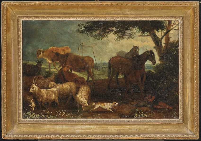 Beich, Franz Joachim, attributed to. A shepherd with cattle in the water - Resting shepherd with cattle - photo 3