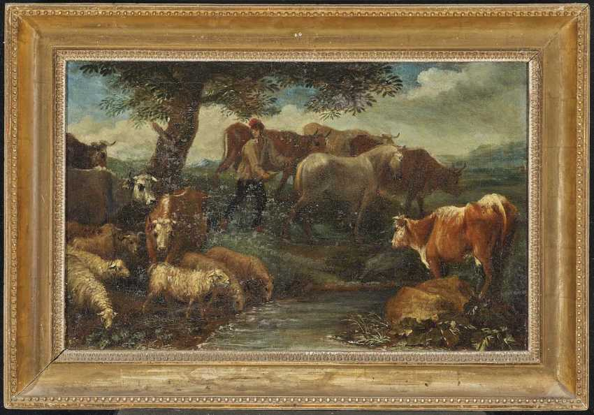 Beich, Franz Joachim, attributed to. A shepherd with cattle in the water - Resting shepherd with cattle - photo 4