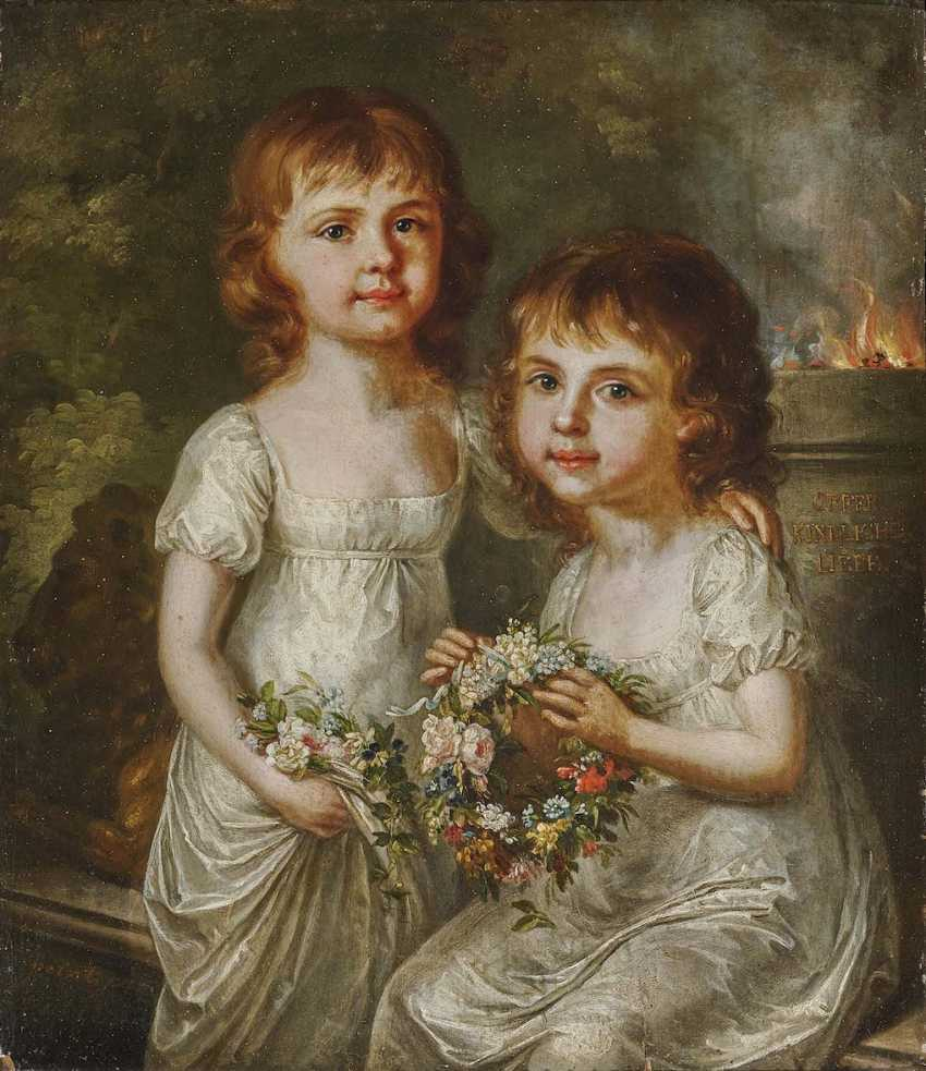 GEIGER, MARGARETHE (ANNA MARGARETHE). Portrait of two sisters with wreaths of flowers - photo 1