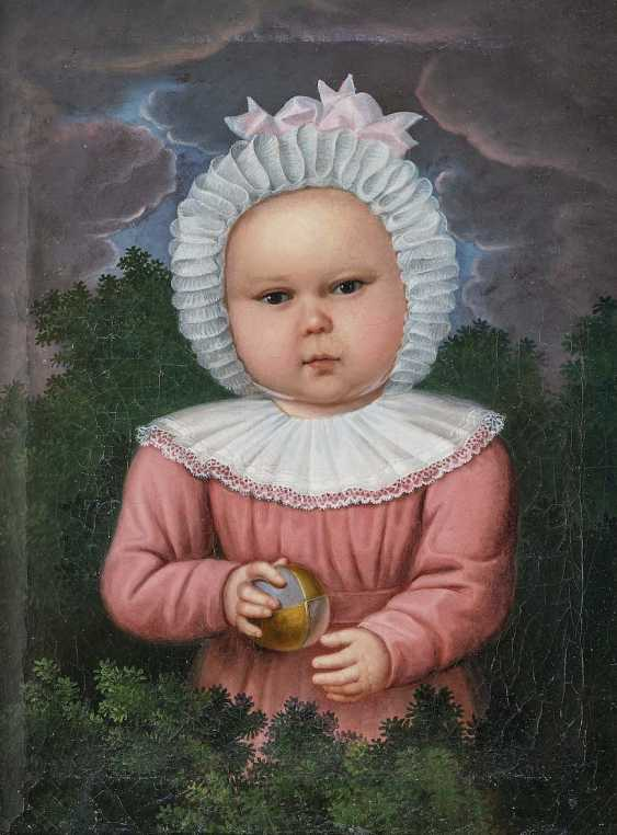 GERMAN OR AUSTRO 1. Half of the 19th century. Century. Portrait of a child with a Ball - photo 1