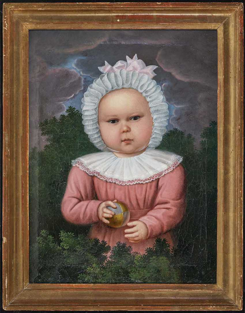GERMAN OR AUSTRO 1. Half of the 19th century. Century. Portrait of a child with a Ball - photo 2
