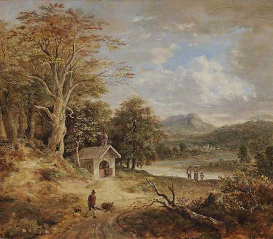 DORNER, D. J., JOHANN JAKOB. River landscape in the foothills with forest chapel, and figure staffage - photo 1