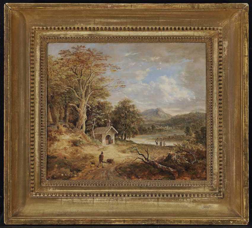 DORNER, D. J., JOHANN JAKOB. River landscape in the foothills with forest chapel, and figure staffage - photo 2
