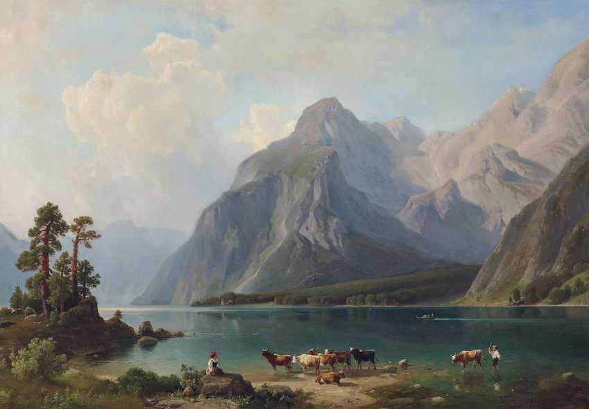 STEINIKE (STEINICKE), JOHANN HEINRICH LUDOLF, attributed to. Shepherds on the banks of the Royal lake - photo 1
